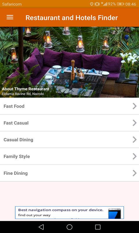 Restaurant and Hotels Finder Screenshot 1