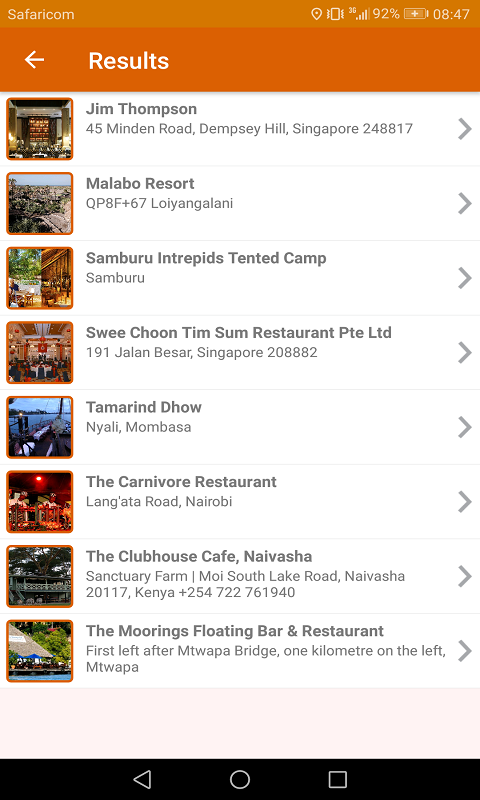 Restaurant and Hotels Finder Screenshot 2
